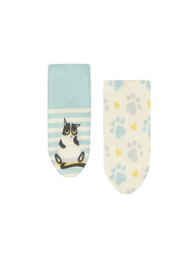 Katia & Bony Kedi Desenli 2'Li Bebek Çorap  Beyaz